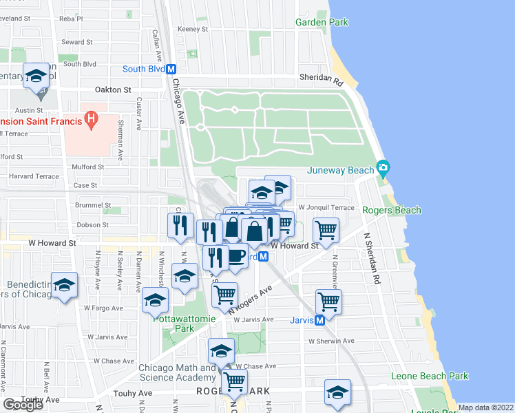 map of restaurants, bars, coffee shops, grocery stores, and more near North Paulina Street & West Jonquil Terrace in Chicago