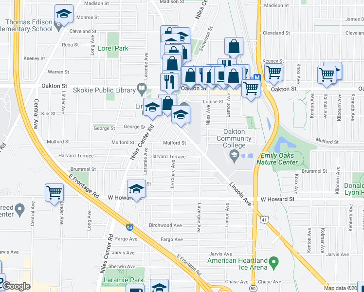 map of restaurants, bars, coffee shops, grocery stores, and more near 5041 Mulford Street in Skokie
