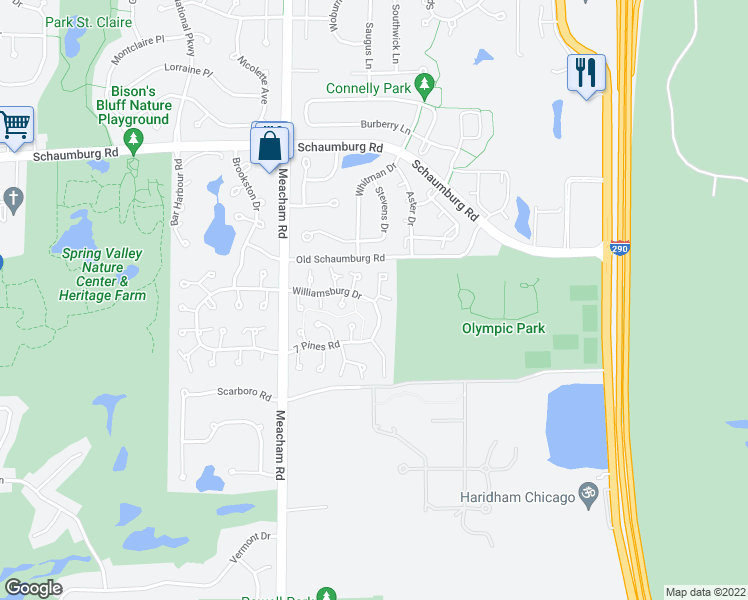 map of restaurants, bars, coffee shops, grocery stores, and more near 1544 Williamsburg Drive in Schaumburg