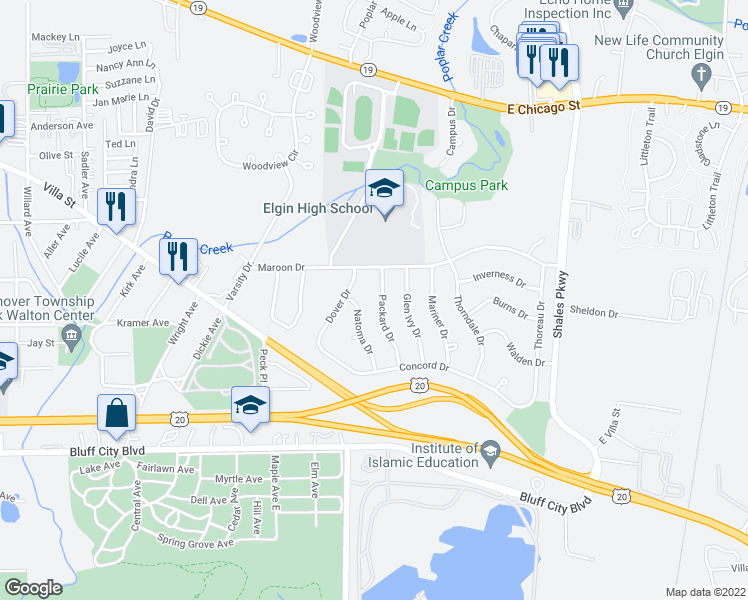 map of restaurants, bars, coffee shops, grocery stores, and more near 649 Packard Drive in Elgin