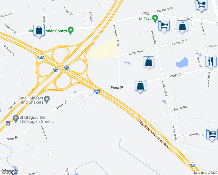 map of restaurants, bars, coffee shops, grocery stores, and more near Blue Star Memorial Highway in Mansfield