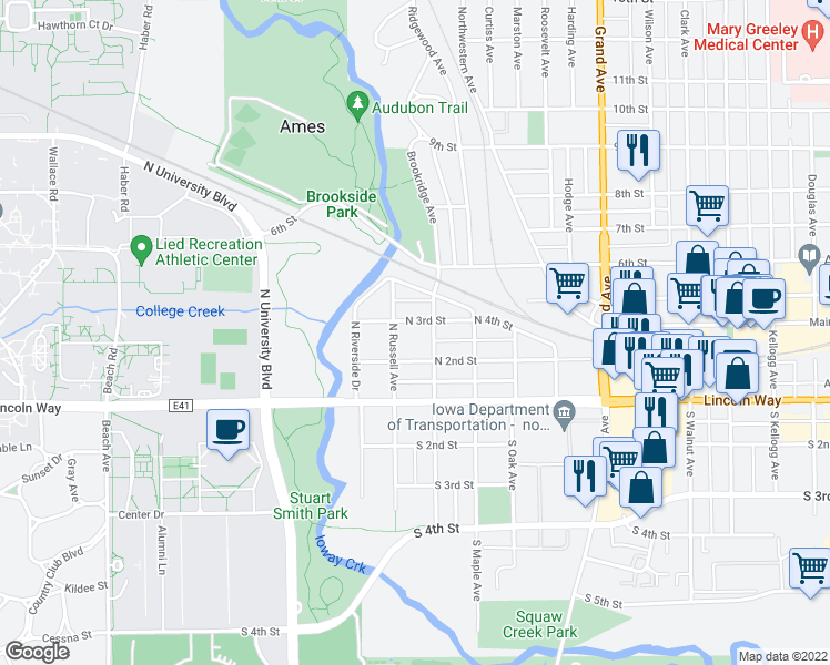 map of restaurants, bars, coffee shops, grocery stores, and more near 1214 North 3rd Street in Ames