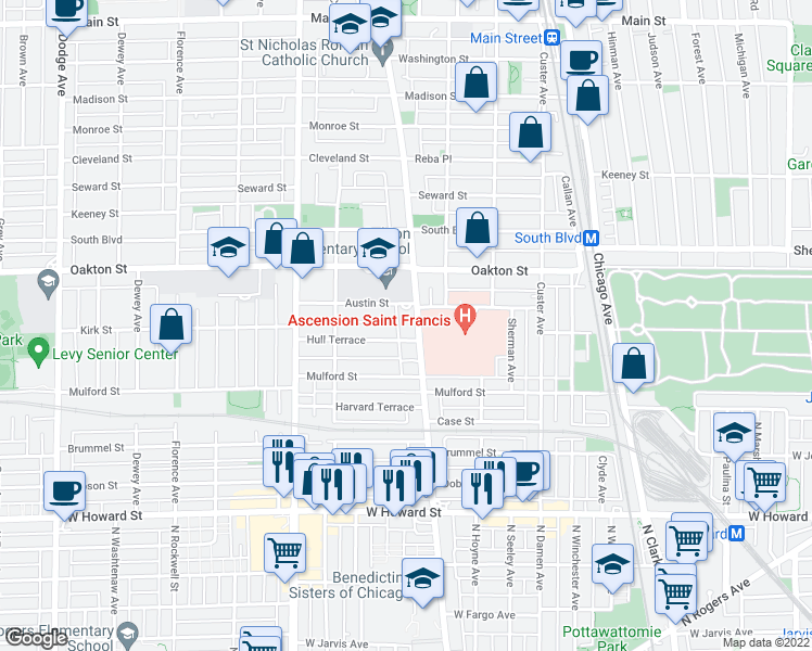 map of restaurants, bars, coffee shops, grocery stores, and more near 1000 Austin Street in Evanston