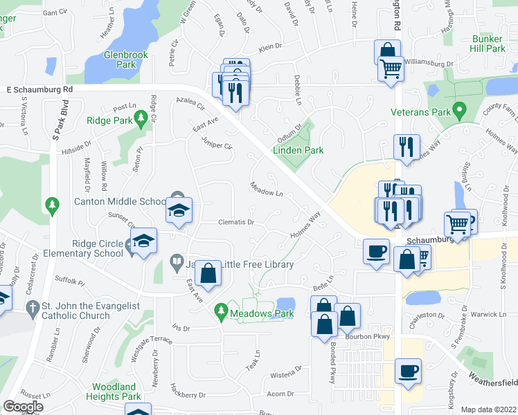 map of restaurants, bars, coffee shops, grocery stores, and more near 67 Beechmont Court in Schaumburg