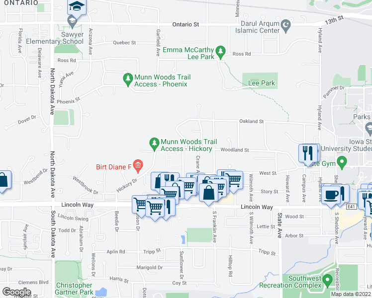 map of restaurants, bars, coffee shops, grocery stores, and more near 415 Westwood Drive in Ames