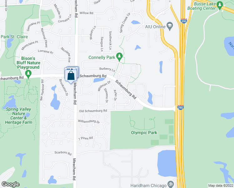 map of restaurants, bars, coffee shops, grocery stores, and more near 16E Lincoln Meadows Drive in Schaumburg