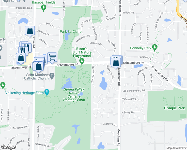 map of restaurants, bars, coffee shops, grocery stores, and more near 101 Bar Harbour Road in Schaumburg