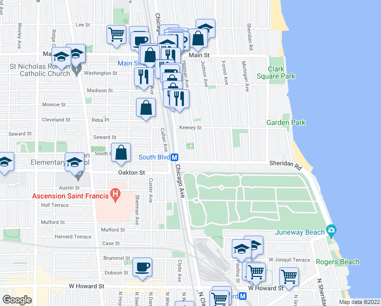 map of restaurants, bars, coffee shops, grocery stores, and more near 532 Hinman Avenue in Evanston