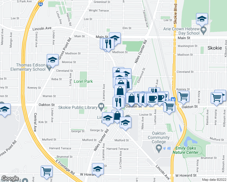 map of restaurants, bars, coffee shops, grocery stores, and more near Floral Avenue in Skokie