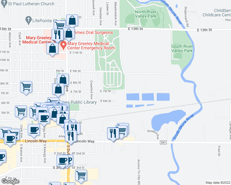 map of restaurants, bars, coffee shops, grocery stores, and more near 450 East 7th Street in Ames