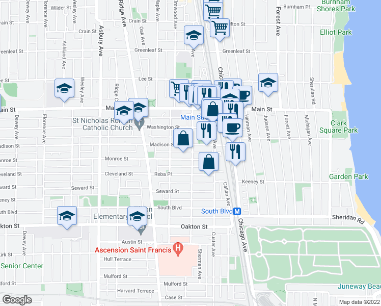map of restaurants, bars, coffee shops, grocery stores, and more near 722 Sherman Avenue in Evanston