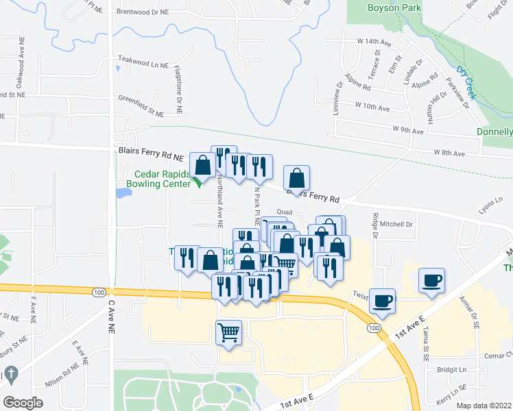 map of restaurants, bars, coffee shops, grocery stores, and more near 5313 North Park Place Northeast in Cedar Rapids