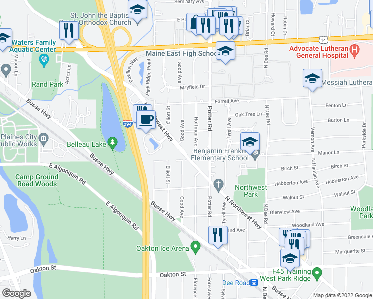 map of restaurants, bars, coffee shops, grocery stores, and more near 1417 North Northwest Highway in Park Ridge