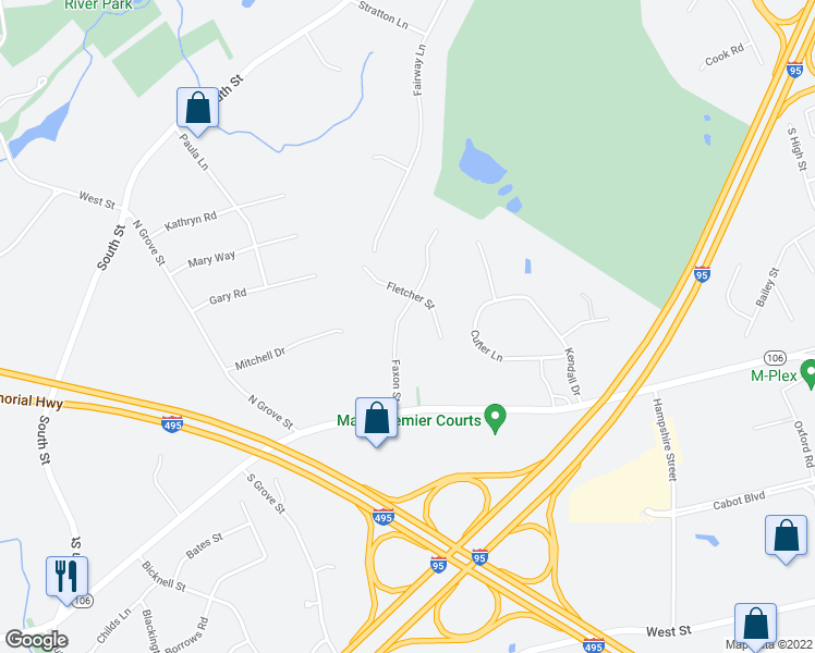 map of restaurants, bars, coffee shops, grocery stores, and more near 17 Faxon Street in Foxborough