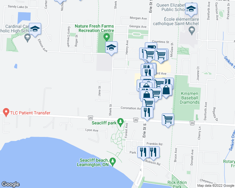 map of restaurants, bars, coffee shops, grocery stores, and more near 304 Sherk Street in Leamington