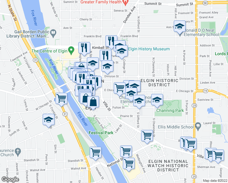 map of restaurants, bars, coffee shops, grocery stores, and more near 305 East Chicago Street in Elgin