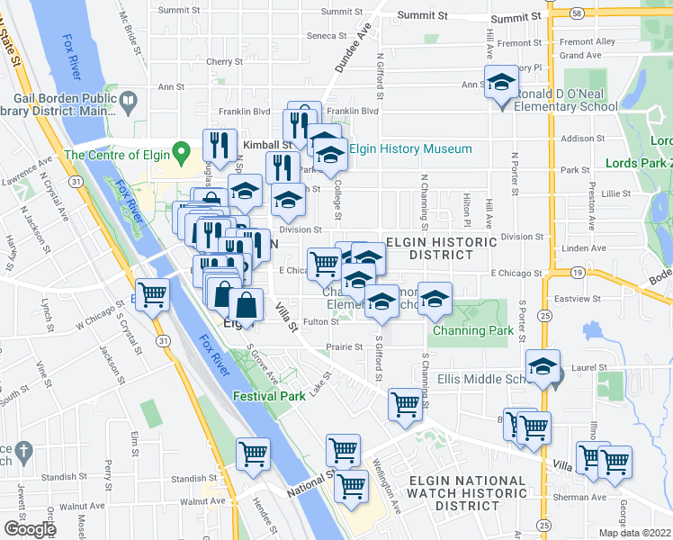 map of restaurants, bars, coffee shops, grocery stores, and more near 17-25 North Chapel Street in Elgin