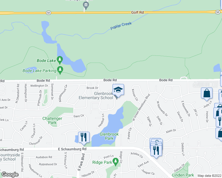 map of restaurants, bars, coffee shops, grocery stores, and more near 4 Woodmar Court in Streamwood