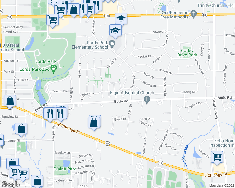 map of restaurants, bars, coffee shops, grocery stores, and more near 149 Highbury Drive in Elgin