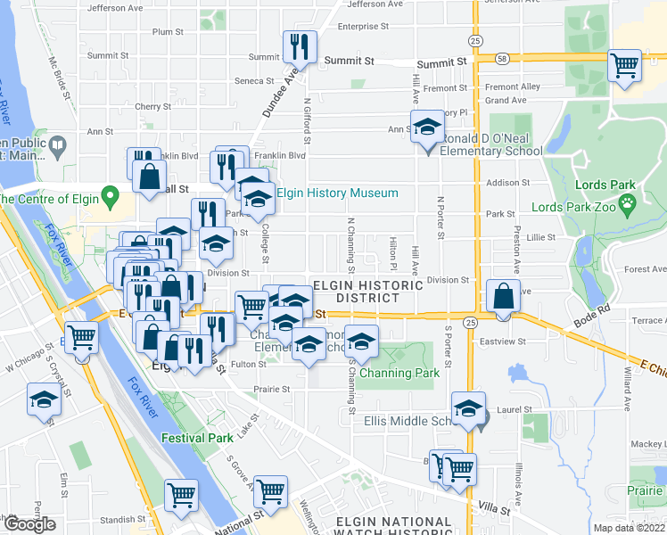 map of restaurants, bars, coffee shops, grocery stores, and more near 428 Division Street in Elgin