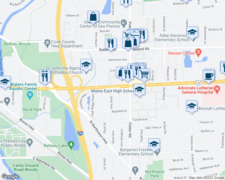 map of restaurants, bars, coffee shops, grocery stores, and more near 2785 Dempster Street in Park Ridge