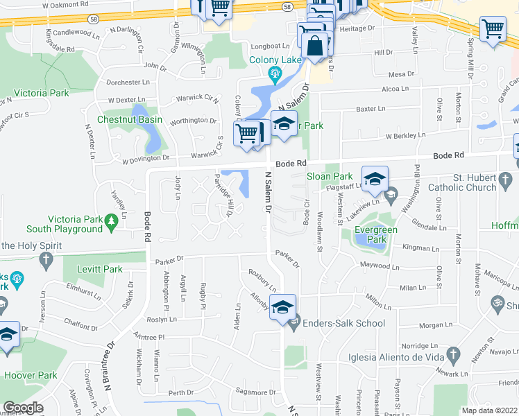 map of restaurants, bars, coffee shops, grocery stores, and more near 700 North Salem Drive in Hoffman Estates