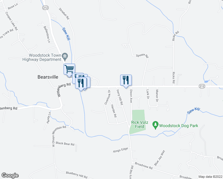 map of restaurants, bars, coffee shops, grocery stores, and more near 1 Overlook Drive in Woodstock