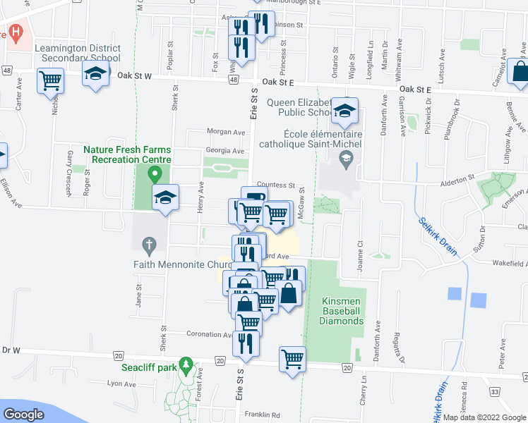 map of restaurants, bars, coffee shops, grocery stores, and more near 238 Erie Street South in Leamington