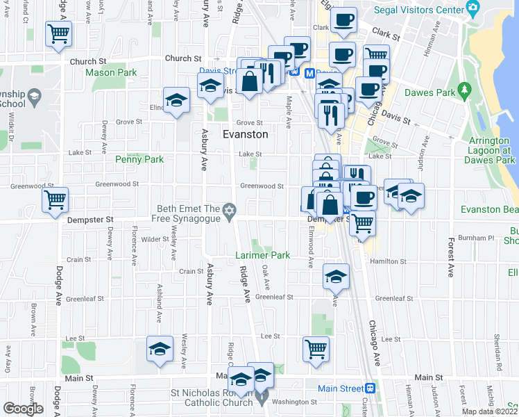 map of restaurants, bars, coffee shops, grocery stores, and more near 1314 Oak Avenue in Evanston