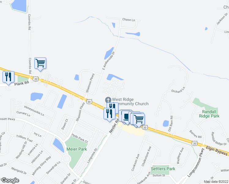 map of restaurants, bars, coffee shops, grocery stores, and more near 449 Churchill Drive in Elgin