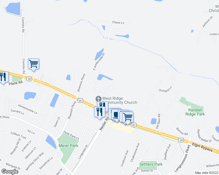 map of restaurants, bars, coffee shops, grocery stores, and more near 3357 Cameron Drive in Elgin