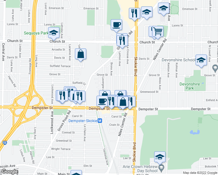 map of restaurants, bars, coffee shops, grocery stores, and more near 8912 Bronx Avenue in Skokie