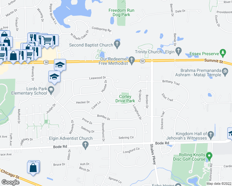 map of restaurants, bars, coffee shops, grocery stores, and more near 240 Briarwood Drive in Elgin