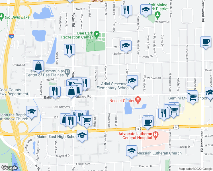 map of restaurants, bars, coffee shops, grocery stores, and more near 9018-9034 Dee Road in Des Plaines