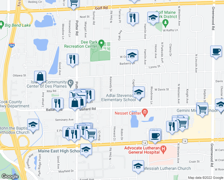 map of restaurants, bars, coffee shops, grocery stores, and more near 9030 Kennedy Drive in Des Plaines