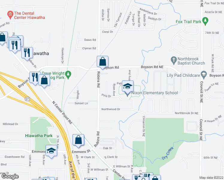 map of restaurants, bars, coffee shops, grocery stores, and more near 740 Ryan Avenue in Hiawatha