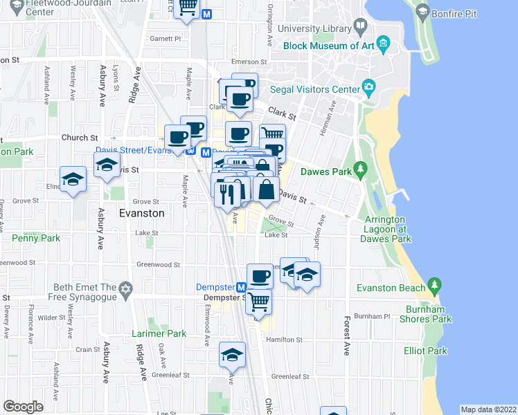 map of restaurants, bars, coffee shops, grocery stores, and more near 1500 Chicago Avenue in Evanston