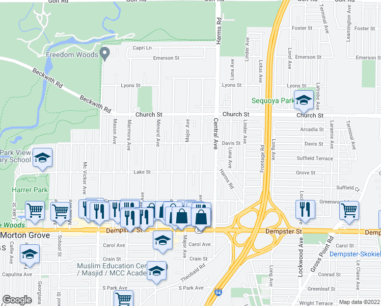 map of restaurants, bars, coffee shops, grocery stores, and more near 9031 Major Avenue in Morton Grove