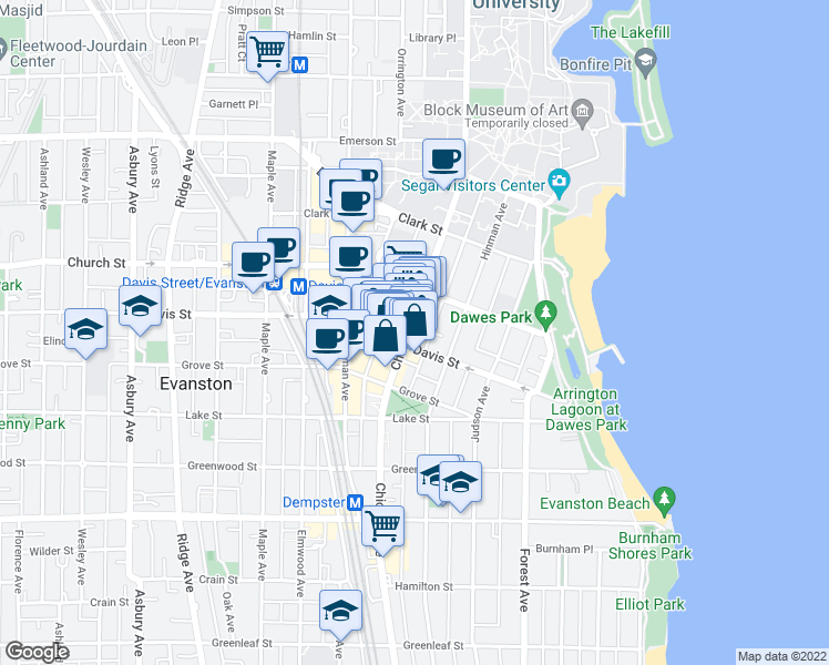 map of restaurants, bars, coffee shops, grocery stores, and more near 1611 Chicago Avenue in Evanston