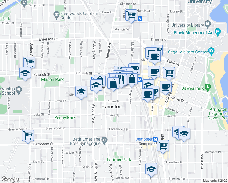 map of restaurants, bars, coffee shops, grocery stores, and more near 1576 Oak Avenue in Evanston