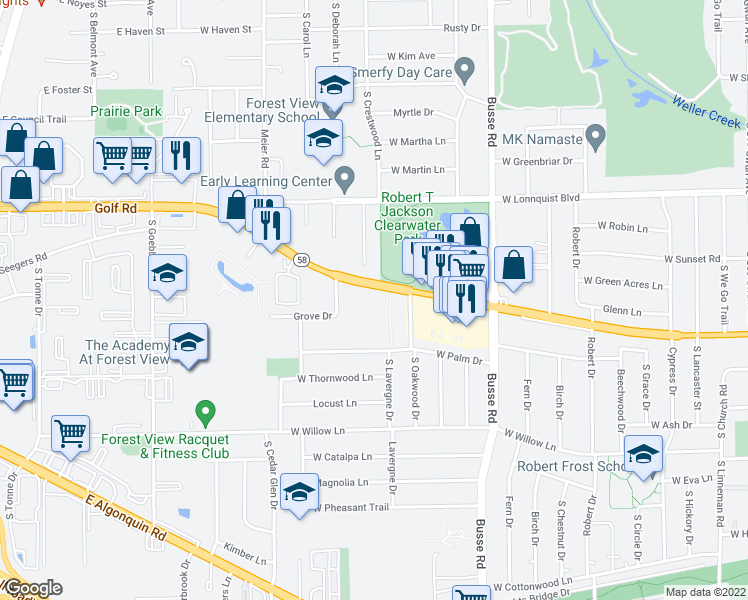 map of restaurants, bars, coffee shops, grocery stores, and more near 1821 West Golf Road in Mount Prospect