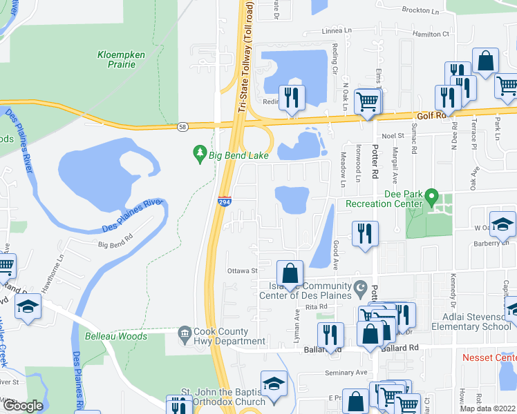 map of restaurants, bars, coffee shops, grocery stores, and more near 9501 Bay Colony Drive in Des Plaines