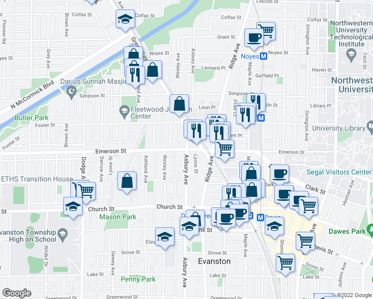 map of restaurants, bars, coffee shops, grocery stores, and more near Asbury Avenue & Emerson Street in Evanston