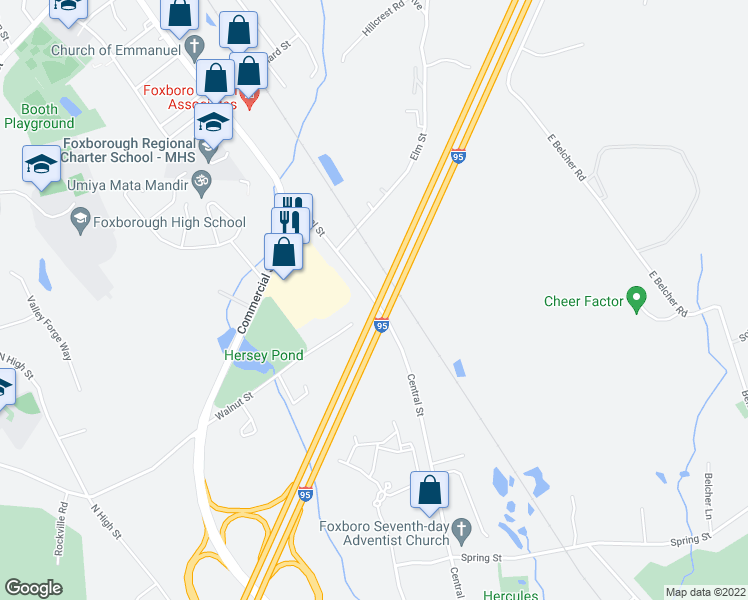 map of restaurants, bars, coffee shops, grocery stores, and more near 246 Central Street in Foxborough