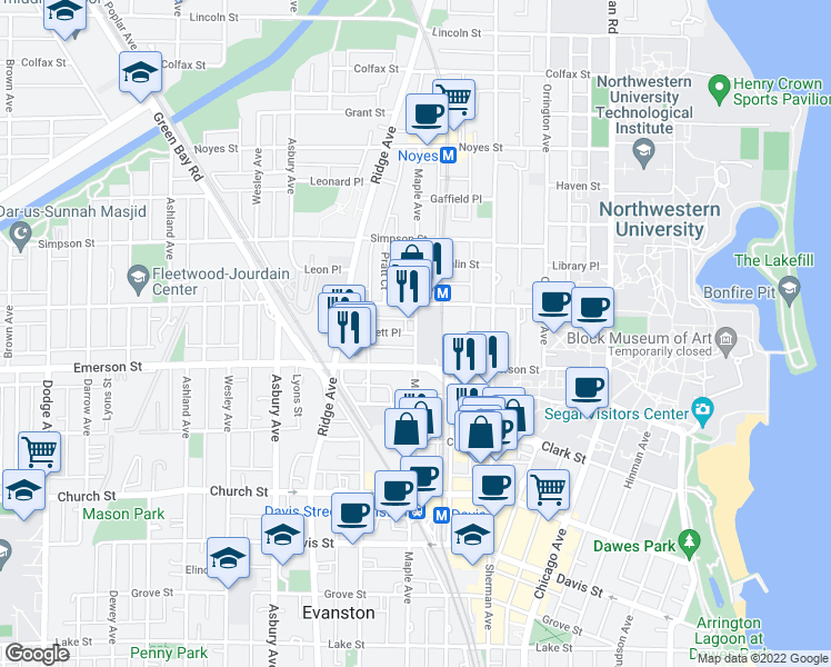 map of restaurants, bars, coffee shops, grocery stores, and more near Garnett Place in Evanston