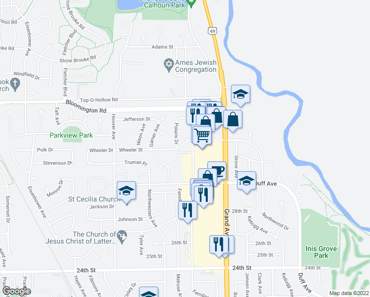 map of restaurants, bars, coffee shops, grocery stores, and more near 3115 Roy Key Avenue in Ames