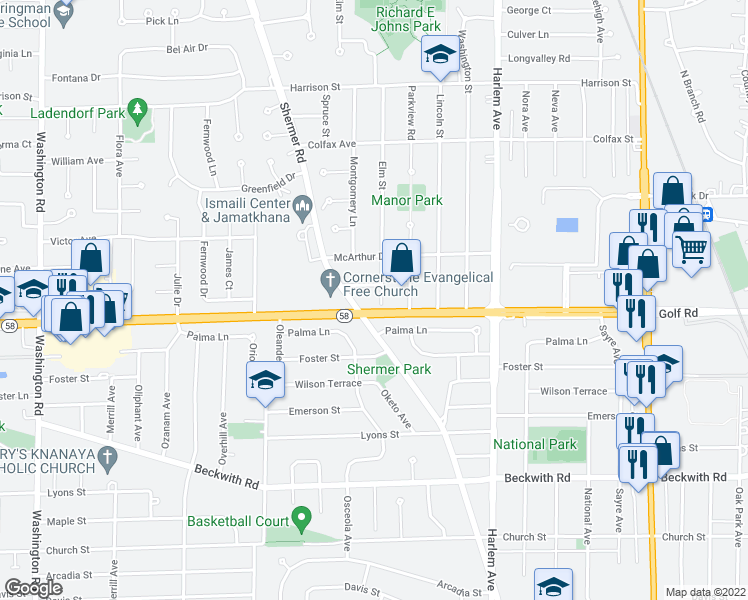 map of restaurants, bars, coffee shops, grocery stores, and more near 6 Elm Street in Glenview