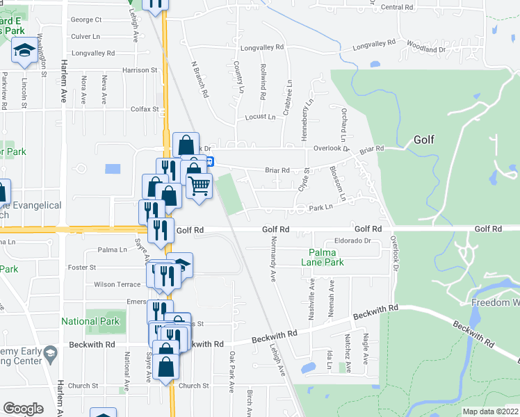 map of restaurants, bars, coffee shops, grocery stores, and more near 21 Park Lane in Park Ridge