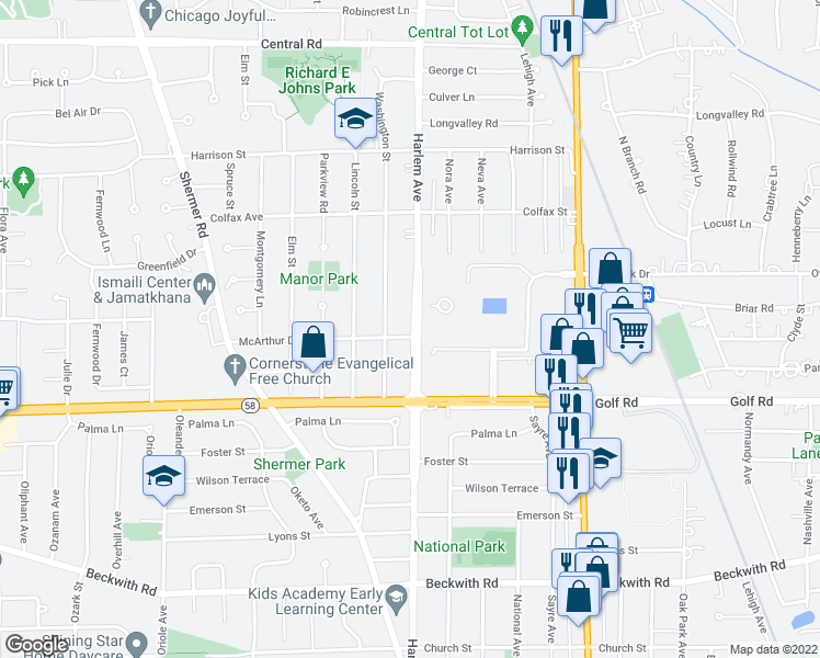 map of restaurants, bars, coffee shops, grocery stores, and more near 116 Harlem Avenue in Glenview