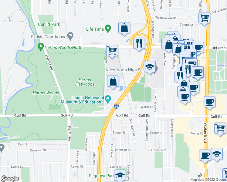 map of restaurants, bars, coffee shops, grocery stores, and more near 9715 Woods Drive in Skokie